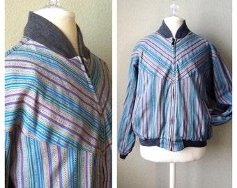 SALE.......Vintage 90s ethnic striped bomber jacket / grey / hippie / grunge / club kid