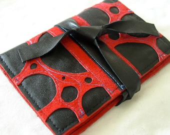 Red Suede Tie Card Wallet