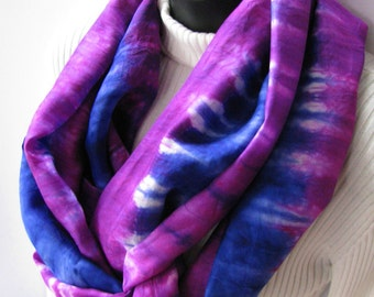 Royal Blue and Berry Pink Striped Womens Infinity Cowl Scarf - Festive Holiday Fashion Hand Dyed Scarf  Unique Handmade Scarf summer scarf