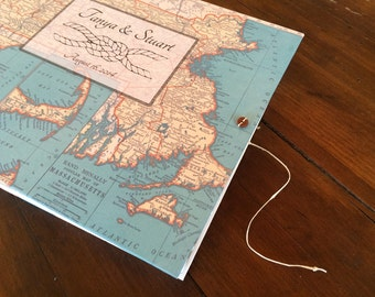 Nautical Wedding Knot Guest Book or Photo Album with Your Choice of Map - Personalized  for You