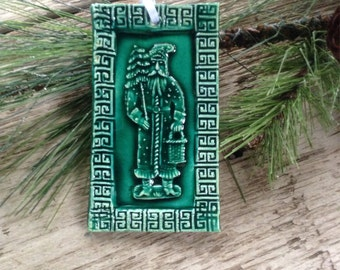 Folklore Santa Claus Ornament in Forest Green