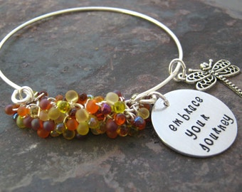 EMBRACE YOUR JOURNEY bracelet, fine silver wire bangle, autumn beads, dragonfly charm, personalize disc with your own words, fall colors
