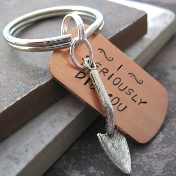 I Seriously Dig You Keychain Trowel Charm, silver key ring and shovel, Valentine keychain, Valentine's day gift, relationship humor