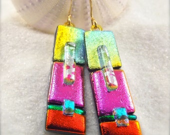 Dichroic Earrings,handcrafted and unique, women's jewelry, glass earrings, gold plated earrings, dichroic glass handmade, statement, boho