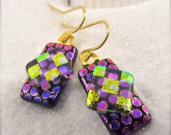 Harlequin Dichroic Earrings, dichroic glass, fused dichroic earrings, dichroic jewelry, Hana Sakura, fused glass,pink earrings, glass fusion