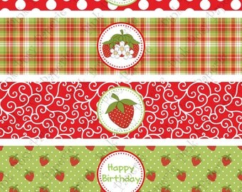 Printable Strawberries Birthday Water Bottle Wrappers - Instant Download