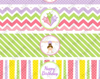 Printable Gymnastics Birthday Water Bottle Wrappers - Instant Download