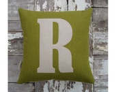 Mini letter cushion/pillow in lovely vibrant green basketweave cotton and applique'd wool felt.