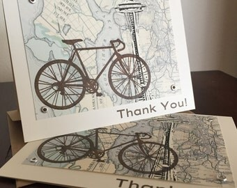 Seattle Bike and Map - 6-Pack Screen-Printed Thank You Card