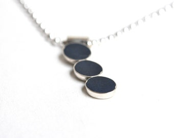 Blue Resin and Silver Necklace, Blue Necklace, Handmade Jewelry, Resin Pendant, Handmade Necklace,  Layering Necklace