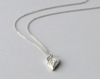 Silver Necklace, Silver Leaf Pendant Necklace, Simple Silver Necklace, Handmade Jewelry, Fine Silver, PMC, Buffalo NY