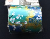 Japanese Fabric Tape - Cherry Blossom Tape - Blue Teal Gold -