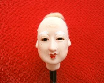 Japanese Doll Head Hina Matsuri Old Man  Body Part #A Small Size