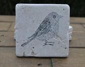 Newsprint Bird Natural Stone Coasters. Set of 4. Housewarming, Holiday, Hostess, Home Decor