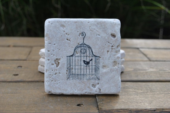 Bird Cage Natural Stone Coasters. Set of 4. Gift for Her, Holiday Gift, Housewarming