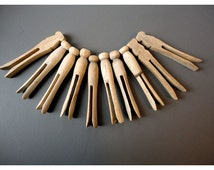 10 Rustic Wooden Clothespins - One-Piece Wooden Clothes Peg