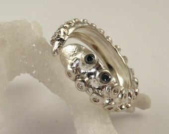 SALE - Tentacle Ring, Wedding Band, Engagement Ring, Octopus Ring, Blue Diamond Ring, Diamond Ring