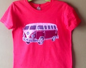VW bus batik t shirt hippie camper hand painted westfalia, hand dyed red - Kids clothes - VW camper, happy camper t shirt,  size 2 to 12