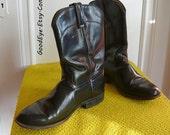 Classic Black Leather Roper Ankle Boots UNISEX Women Size 9 .5  Eu 41 UK 7  Mens sz 8 CABORCA  Mexico