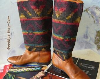Vintage Wool n Leather Knee Boots size 8 M Eu 38 .5 UK 5 .5 UNISA Brazil Flat Rockabilly Western Slouchy