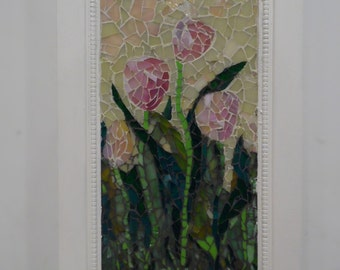PINK TULIPS stained glass floral picture wall hanging