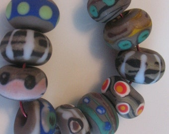 lampwork beads in earth tones --glass beads  SRA
