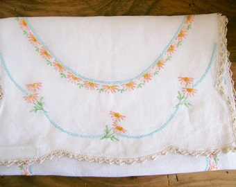 Embroidered Doily Linen Floral Table Runner Dresser Scarf  16 x 40