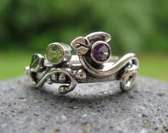 unique mothers ring. sterling silver and 2 birthstones . (( Wild Garden Mothers Ring )) . customized and made to order