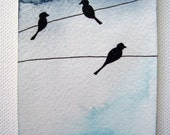 Original ACEO OOAK Birds perching on wires original watercolor painting ready to ship