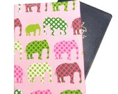 Green and Pink Elephants Passport Cover/Holder