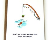 Fishing Christmas Card, Fishing Rod, Holiday Cards, Tropical Christmas Cards, Coastal Christmas Cards, Beach Christmas