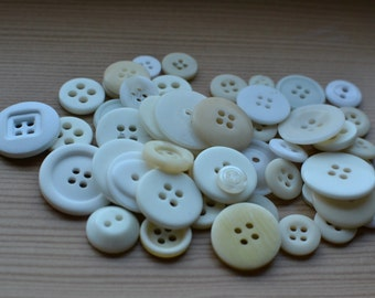 50+ Mixed White Buttons