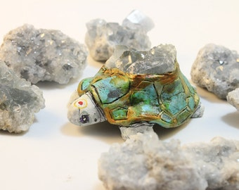 Turtle Animal Totem Figurine Celestite Gemstone