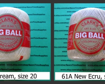 Clark's - B345 Big Ball Crochet Thread - assorted sizes - assorted colors - 1 ball
