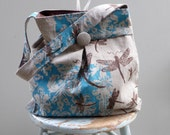 Dragonfly Bag Large Hobo Bag - - 3 Pockets Key Fob - Hand printed linen