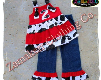 Custom Boutique Clothing Girl Cow Outfit Cow N Red Top Denim Toddler Baby Pant Set 3 6 9 12 18 24 month size 2t 2 3t 3 4t 4 5t 5 6 7 8