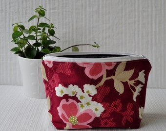 6 x 9 Zippered Pouch - Dogwood Bloom in Berry
