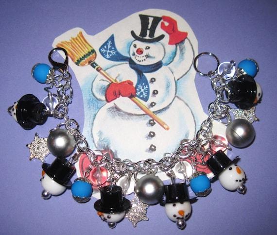 Snowman Charm Bracelet Frosty the Snowman Inspired Charm Bracelet Winter Jewelry Christmas Bracelet Snowman Bracelet Snow Stars Beads OOAK