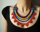 Beaded lace necklace -  crocheted with orange, burgundy, teal and turquoise blue beads