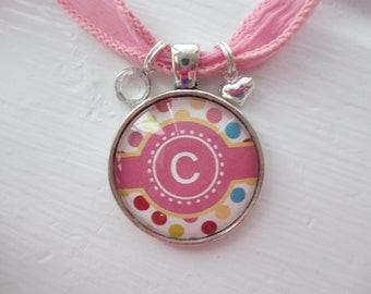 Pink Cigar Band Intiial Glass Pendant Necklace