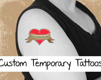 6 Personalized Temporary Tattoos 2.5 Inch