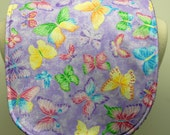 Youth/Junior Bib, Special Needs, Cerebral Palsy, Retts Syndrome, 14-inch neck opening:  Colorful Butterflies on Sparkling Purple