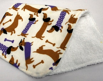 Baby Burp Cloth, Baby Shower Gift, Welcome Baby Gift: Doxies with Purple Sweaters