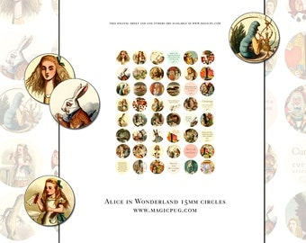 Alice in Wonderland Quotes Color Illustrations 18mm button sticker digital collage shee