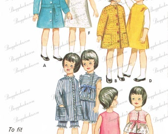 Butterick 3350 - PDF Doll sewing pattern for 9 1/2 inch dolls, such as pepper and skipper