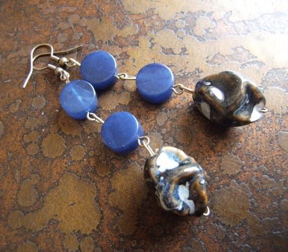 Blue Lagoon Glass & Acrylic Beaded Dangle earrings