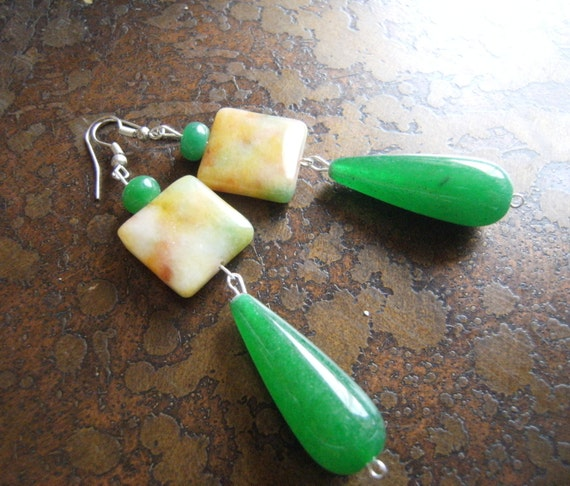 Morning Hike Glass Agate and Jade Beaded Dangle earrings