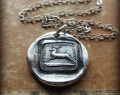 Broken Heart - I Will Go On - antique French wax seal charm necklace in fine silver - Inspirational love necklace, endure and move forward