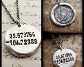 Coordinates Necklace, Latitude Longitude Compass Jewelry - Wax Seal Necklace in eco friendly Silver - Coordinate Necklace - Personalized