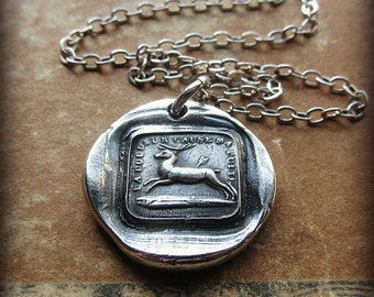 Broken Heart - I Will Go On - antique French wax seal charm necklace - Inspirational love necklace, endure and move forward - FS660